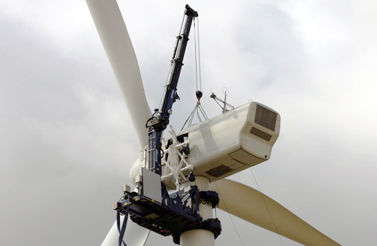 wind turbine crane working